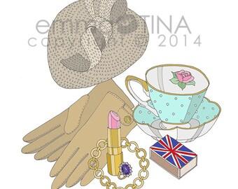 Kate Middleton What's in my Bag Portrait Fashion Illustration Art Print