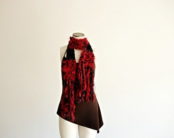 Scarf, Black Cherry Red Scarf Hand Knit Ribbon Scarf with Fringe Red and Black Scarf