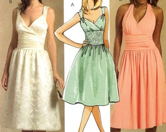 Halter dress pattern or sleeveless dress for bridesmaid or cocktail parties sewing pattern McCalls 5319 Sz 4 to 12