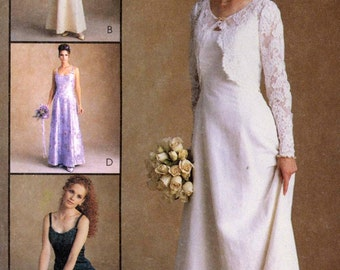 Brides wedding gown and bolero style jacket Romantic Wedding dress Alicyn sewing pattern McCalls 9700 UNCUT Sz 10 to 14