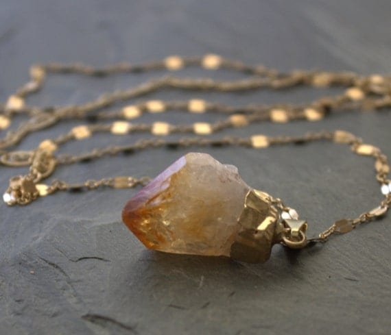 Raw Stone Necklace Citrine Pendant Necklace, 14k Gold Filled Raw Stone Jewelry, Long Pendant Necklace, Long Gold Chain Pendant Necklace