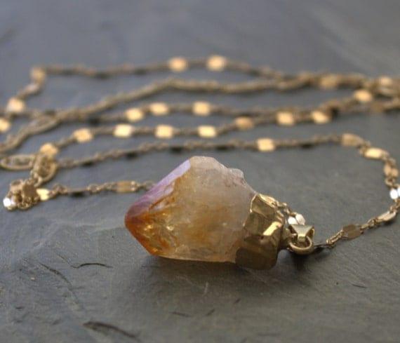 Raw Stone Necklace Citrine Pendant Necklace, 14k Gold Filled Raw Stone Jewelry, Long Pendant Necklace, Long Gold Chain Pendant Necklace