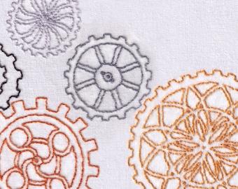 Gears Hand Embroidery Pattern, Industrial, Machine, Steampunk, Individual, Fancy, Detailed, Clockwork, PDF