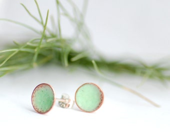 Robins Egg Earrings, Mint Green, Post Earrings, Small Enameled Studs, Girl Earrings, Enameled Copper Earrings, Geometric Jewelry