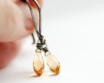 Citrine Earrings, Yellow Earrings, Gemstone Earrings, Semi Precious Stones, Oxidized Sterling Silver, November Birthstone