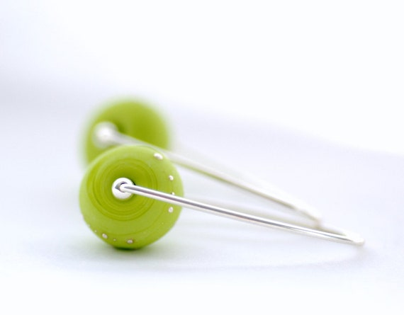 Apple Green Earrings, Spring Jewelry, Colorful Earrings, Bright Green Earrings, Leaf Green, Simple Modern Jewelry - Mardi Gras