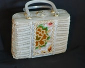 Vintage 1950s Woven Basket White Handbag Box Purse by Tropic Miami, FL