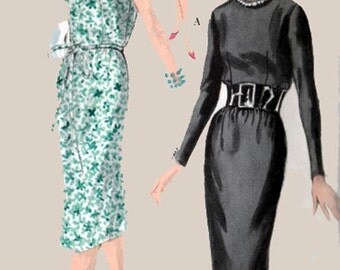 1950s Wiggle Dress  Vogue 9747 Easy to Sew Womens Elegant Vintage 50s Sewing pattern Size 12 Bust 32 UNCUT