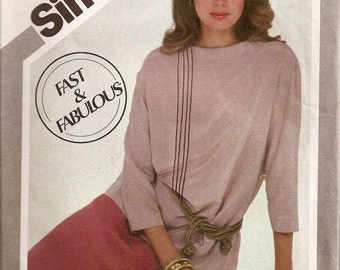 1980s Boat Neck Tunic and Pull-On Skirt Simplicity 5213 Fast and Fabulous Womens Vintage Sewing Pattern  Size 12-16 UNCUT