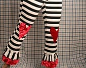 Circus stripe Pants, Red heart knees, pirate costume, High Waist pants, Cotton Yoga Pants. Belly Dance. Small