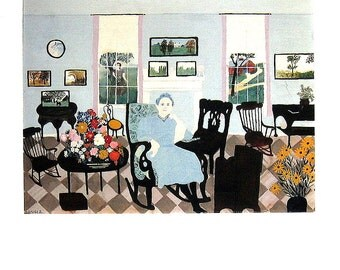 Grandma Moses - In The Studio - 1991 Vintage Print - Large Book Page 10.5 x 14
