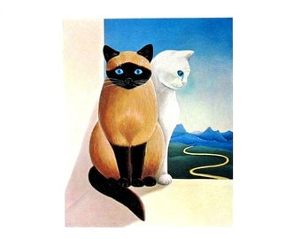 Cat Print - Blue Eyes, Cartier - 1985 Vintage Book Page - 9 x 12