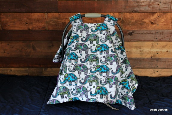 Baby Infant Carseat Car seat canopy cover blanket nursing soft  pink purple paisley elephant fleece aqua turquoise  SWAG