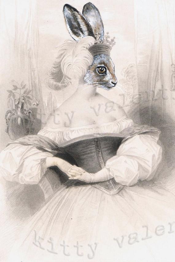 victorian art print by kitty valentine - hare princess