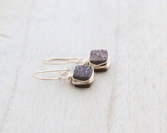 Druzy Drop Earrings, Chocolate Brown Coffee Bezel Wrapped In Gold, Rose Gold, Sterling Silver, Espresso