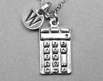 Calculator Necklace, Calculator charm, Math teacher gift, initial necklace, silver plated pewter, monogram letter, personalized jewelry