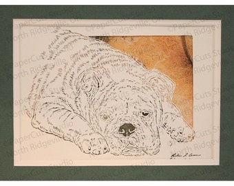 Bulldog Paperutting- Handcut Original
