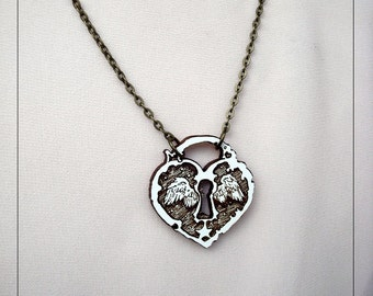 Soaring Heart Lock Pendant, companion necklace, engraved white painted maple