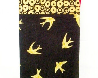 Gold Sparrows Glasses Case, Sunglasses Holder, Birds