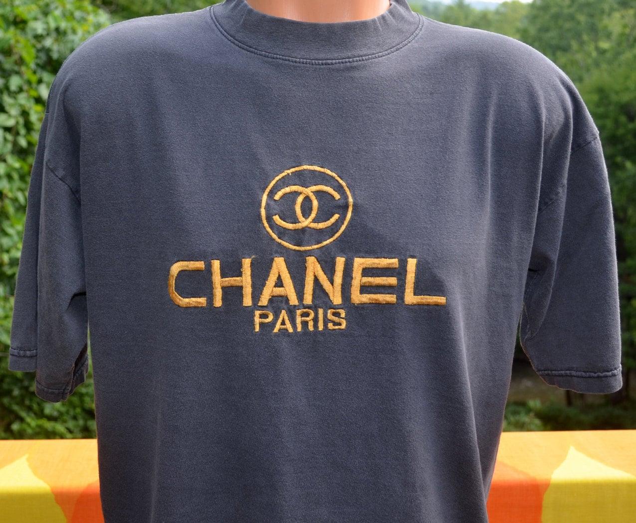 Vintage 80s T Shirt Chanel Paris Designer Authentic Black