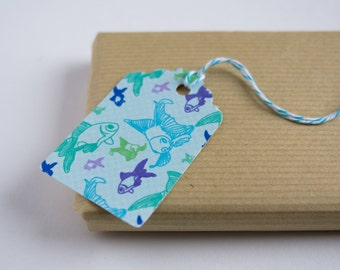 Gift tags with blue, puprle and green fishes - Hand punched - For Decoration, Gift Embellishments, Wedding - Nautical design