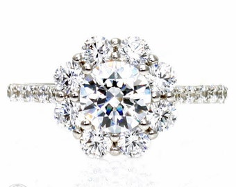 Diamond Engagement Ring GIA Certified Cluster Flower Diamond Halo Conflict Free Engagement in 14K or 18K Gold