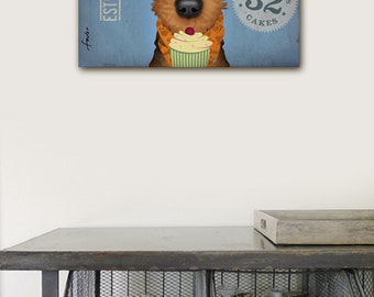 AIREDALE dog cupcake baking company original graphic art illustration on gallery wrapped canvas by stephen fowler
