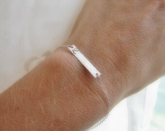 Sideways bar bracelet, silver initial bracelet, horizontal bar, bridesmaid gift, bridesmaid bracelet, personalized initial bar, layering