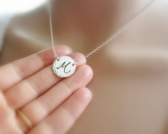 Cursive letter necklace Personalized Gold, Rose Gold or Silver initial choker necklace Initial necklace Large script Monogram necklace