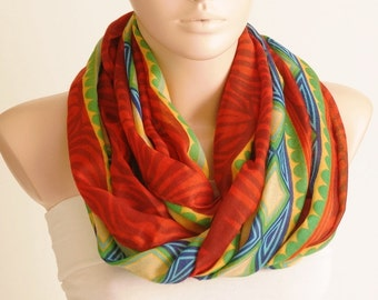 Red, yellow, green, blue color  Cotton Mixcolor Spring Scarf, Geometric Scarf, Tribal Scarf