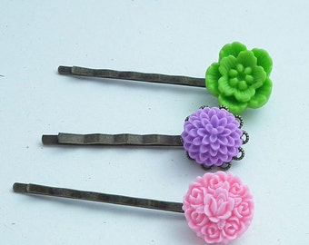 Set of Three Hair Pins,  Lime Green, Purple, and Pink Flower Bobby Pins Antiqued Brass