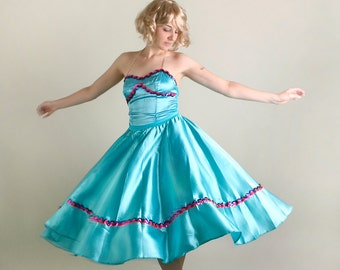 Vintage Dance Costume - Teal Ballerina Full Skirt Tutu 2 Piece - Small to Medium