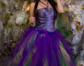 Mardi Gras tulle tutu skirt Streamer floor length formal fantasy wedding offbeat bridal purple green fairy carnival -You Choose Size - SOTMD