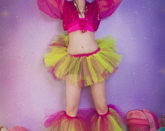 Raver set adult tutu skirt and boot covers UV reactive dance club rave party leg warmers neon retro - You choose size - Sisters of the Moon