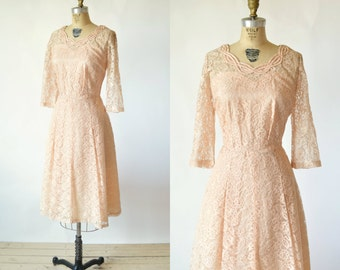 1950s Peach Dress --- Vintage Lace Party Dress