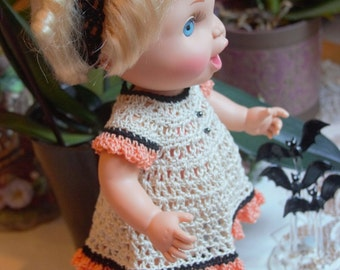 Crochet outfit for 13 inch Galoob Bath Tub Baby Face Doll 5 piece Dress Set Thread Halloween