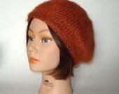 Persimmon Burnt Orange Beret Hat Cap Slouch Handknit by Lynne