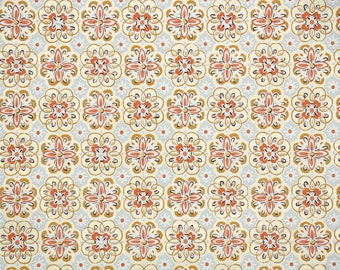 1950's Vintage Wallpaper - Orange Tan and Gray Geometric