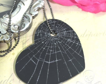 BLACK SHATTERED HEART - Black Laser Cut Acrylic Etched Charm Necklace