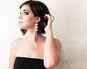 white lace earrings // ARISTA // white and gold / long earrings / lace earrings / lace wedding jewelry / dangle earrings,  boho earrings