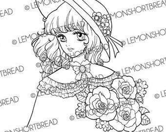 Digital Stamp Shoujo Rose Hat Girl, Digi Colouring Page, PNG, Sweet Lolita, Floral Bouquet, Retro Style Anime, Fashion, Instant Download