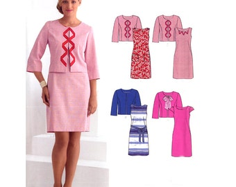 Misses Easy Dress / Jacket Pattern - New Look 6021 - Sleeve / Trim Options - All Sizes 10-22 Uncut