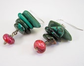 Earth Green and Berry Earrings, Free Shipping, OOAK, Laura Mae Jewelry