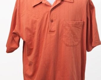 Men's Cotton Shirt / Vintage Orange Polo Shirt / Size Large