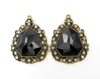 Pair of Black Antique Brass Jewelry Drop Pendant Chandelier Earring Finding Charms |BL7-12|2