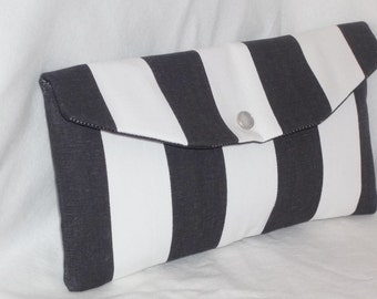 Bridesmaid Clutch / SALE / Fold Over Envelope Clutch/ Premier Prints - Canopy Stripe in Black & White/Bridesmaid Gift Idea