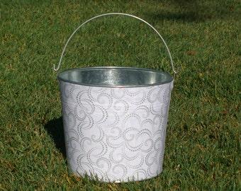 Dainty Silver Swirls on White Galvanized Metal Jr. Bucket
