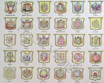 antique double sided page Arms of Various Nations and countries in the Sulu Sea 1899 to frame