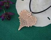 Rose Gold Cottonwood Leaf, Real Leaf, Cottonwood, Cottonwood, Pink Gold, Heart shape, Small Leaf, RG14
