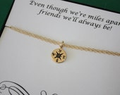 Tiny Compass Bracelet, Tiny Silver Charm, Gold Compass, Directions, Best Friend Gift, BFF, Bronze